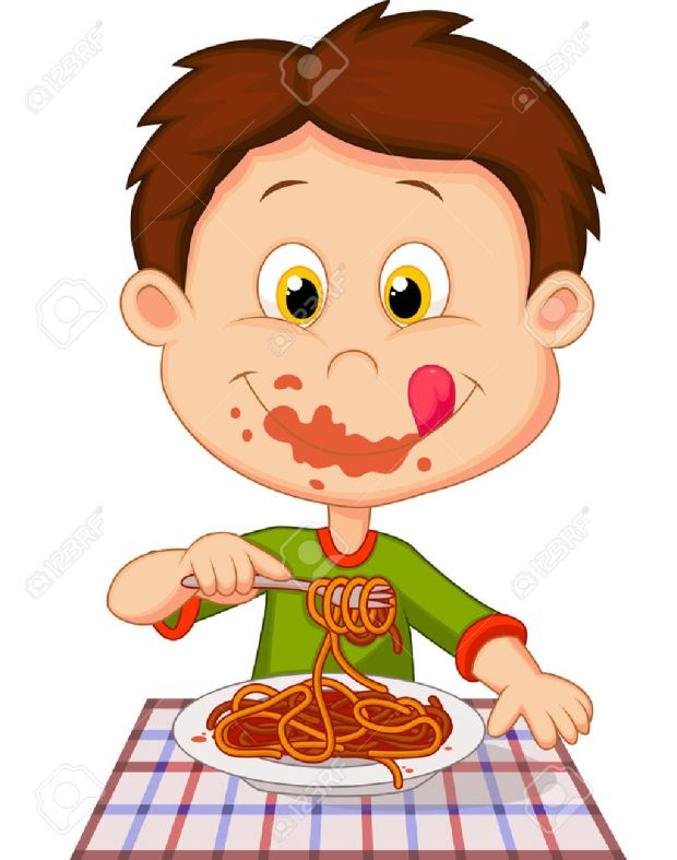 23826043-Cartoon-boy-eating-spaghetti-Stock-Vector